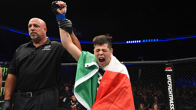 PORTLAND, OR - OCT. 01: Brandon Moreno of Mexico celebrates after submitting Louis Smolka in their flyweight bout during the UFC Fight Night event at the Moda Center. (Photo by Josh Hedges/Zuffa LLC)