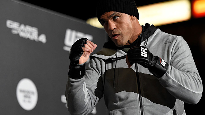 MANCHESTER, ENGLAND - OCT. 05: Vitor Belfort of Brazil holds an open training session for fans and media at the Manchester Arena. (Photo by Josh Hedges/Zuffa LLC)