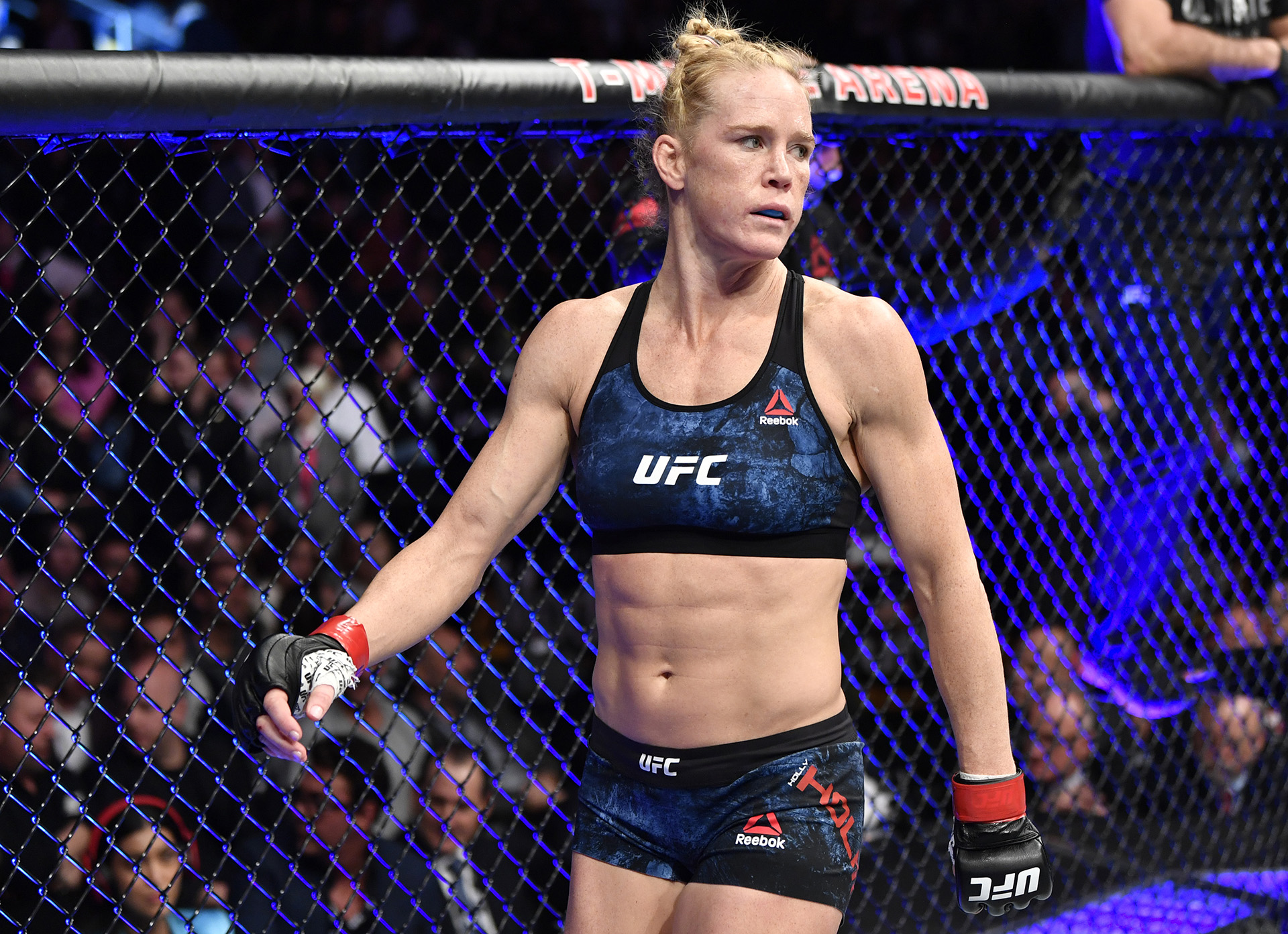 Holly Holm enters the octagon in her bantamweight fight during the UFC 246 event at T-Mobile Arena on January 18, 2020 in Las Vegas, Nevada. (Photo by Jeff Bottari/Zuffa LLC via Getty Images)